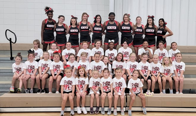 """The Screven County High School cheerleaders host its annual """"Kiddie Cheer Camp."""" This year the four-day camp was held at the Screven County Recreation Department. The young girls learned cheers, tumbling and stunts from the varsity team."""