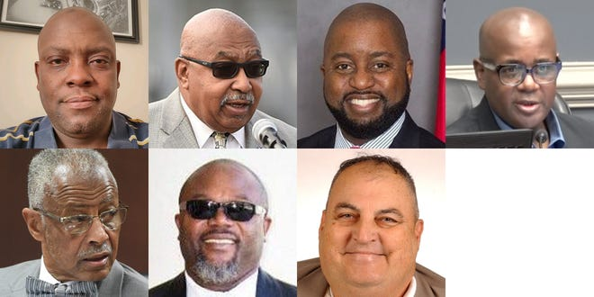 Candidates who have declared their intention to run in the Augusta mayoral race include (top row, from left) Albert Newson, Dennis Williams, Steven Kendrick, Charlie Hannah, (bottom row, from left) Marion Williams, Brian Marcus and Robert Ingham.