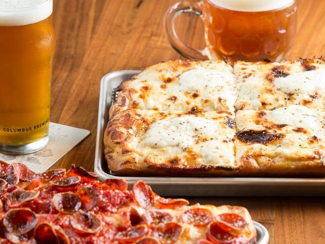 Pepperoni pizza and Cacio e Pepe pizza at the Columbus Brewing Company Taproom