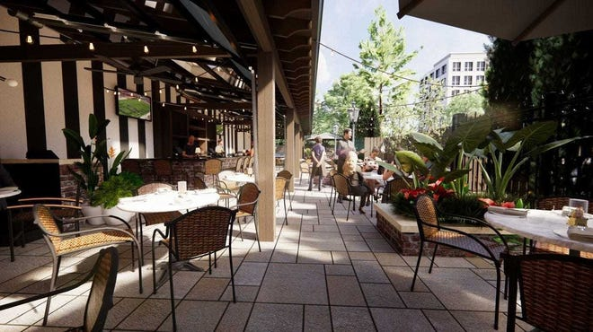 The Top Steak House, 2891 E. Main St. in Bexley, tripled the size of its patio, as shown in this rendering.