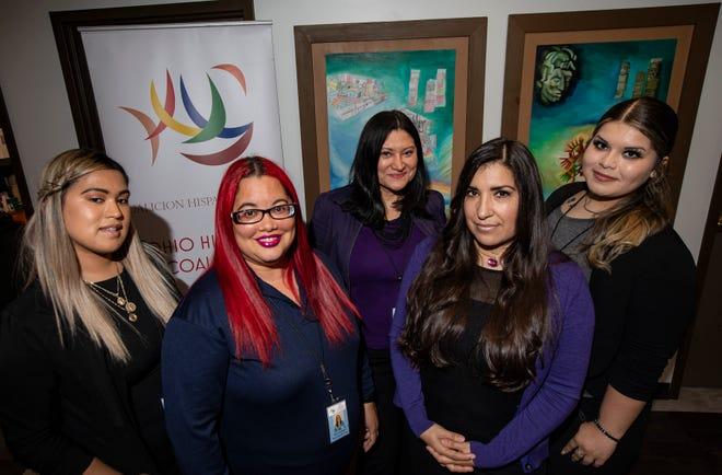 Advocates with the Ohio Hispanic Coalition's Soy Latina program — from left, Natalie Sixtos, Misty Rodriguez, Soraya Alcala, Maria Ramirez and Jennifer Lopez — focus on assisting survivors of domestic violence, sexual assault and human trafficking.