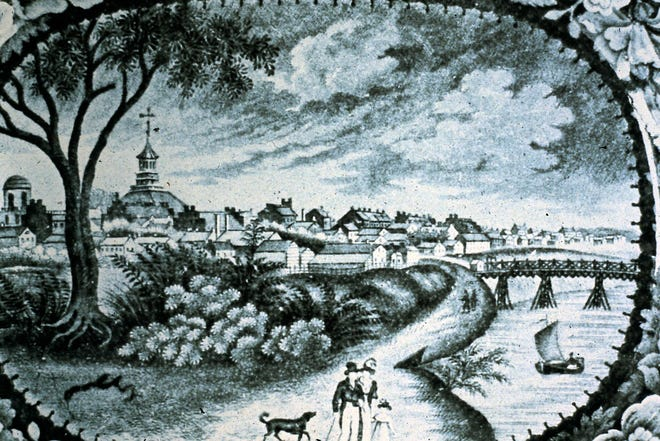 The earliest known view of Columbus. It is 1832 and the view is looking southand east from what isnow the Arena District.
