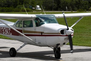 Lake County's new Aviation Program Specialist Dave Cohen flies out of the Orlando Apopka airport in a Cessna 172 Skyhawk.