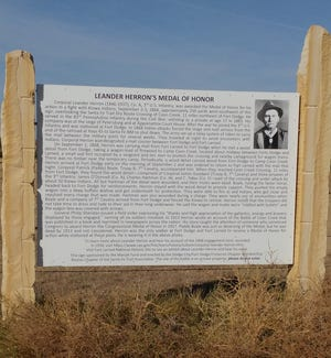 Leander Herron and the battle on Coon Creek storyboard is east of Wright on Jewel Road and then south on 125 Road 3/4 of a mile.