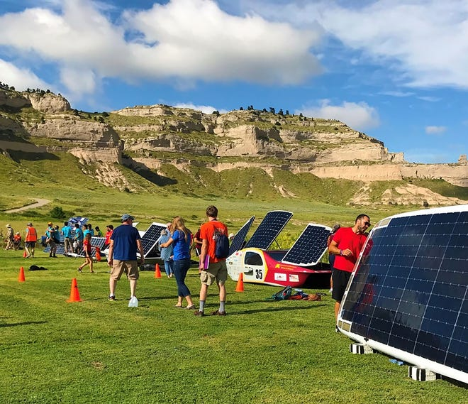Solar cars charging during the 2018 American Solar Challenge at Scotts Bluff National Monument.