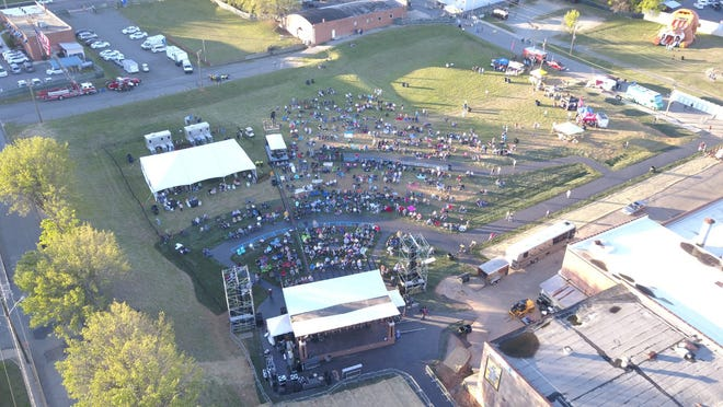 Pictured is an aerial shot of a previous concert at the Breeden Insurance Amphitheater where the Lexington Area Chamber of Commerce will stage the Sounds of Summer Concert on Aug. 14. The four-hour concert will feature four performers and bands.