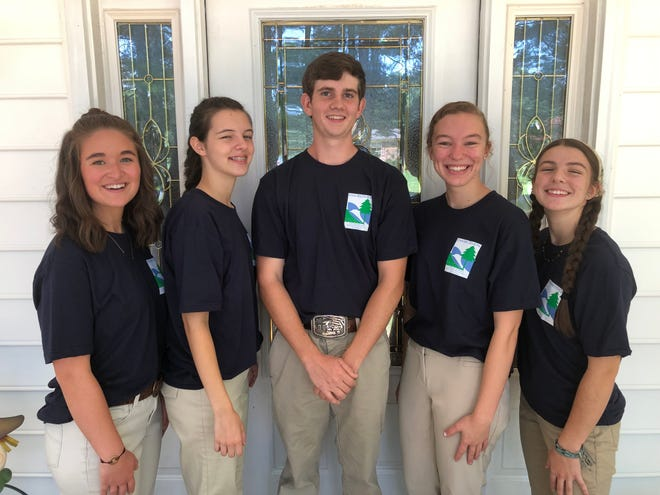 Members of the High Rock Booger Lizards of Davidson County Homeschool who placed second at the 2021 National Conservation Foundation Envirothon Competition.  Pictured are Sydney Loflin (left), Josie Freeman, Nathan Gobble, Alex Pope and Elli Jones