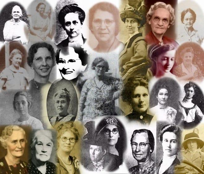 Photo:  1: Top Row: Left to Right: Josephine Salyerds, Martha Mercer, Maude Holland, Nell Allen, Minnie Johnston-Deen, Salome Knight, Minnie Barber. 2nd Row: Neva Eisenbach, Daisy Buckles, Agnes McArn, Ida Upson, Julia Clegg, Susie McDaniel. 3rd Row: Ethlyn Deen, Alice Scott Abbott, Bettie Moody, Mabel Johnston, Clara Palmquist. 4th Row: Susie Sisco, Minnie Truman Brown, Alta Bortree, Ruth Richardson, Mattie Deen, Annie Salyerds, Laura Friar, Ethlyn Deen.
