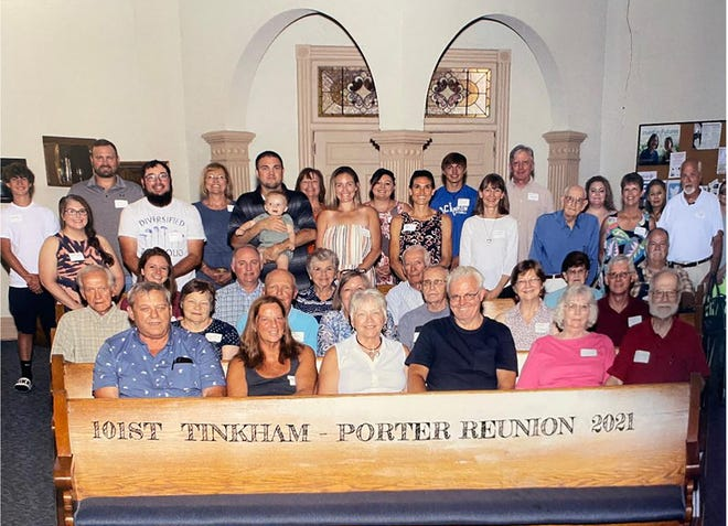 The Tinkham and Porter families celebrated their centennial reunion at Gerlaw Christian Church on July 2.
