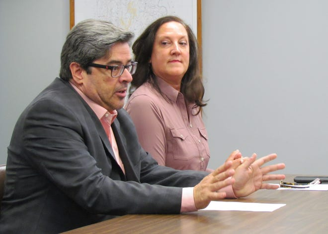 """""""We're in a really, really strong financial position,"""" said Chris Barrett (left), President and CEO of the Pocono Mountains Visitors Bureau. Barrett and PMVB Vice President Marlyn Kissner (right) delivered the Annual Tourism Report to the Wayne County Commissioners on Thursday, July 29."""