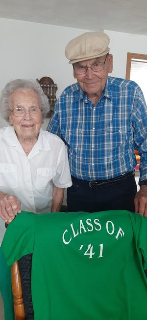 Don Strohman of Erie, Il and Lenora Kemmis Pritchard of Geneseo, met July 29 to reminisce their high school days.  They both graduated in the Class of 1941, from Geneseo High School, EIGHTY years ago.  Both are 97 years old, and in good health, living alone, and agree that they lived in the best of times!