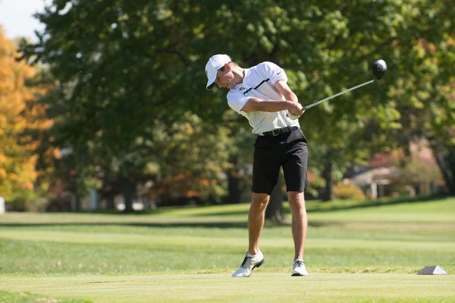 Pekin graduate Jack Halstead tees off during a round for the Parkland College men's golf team.