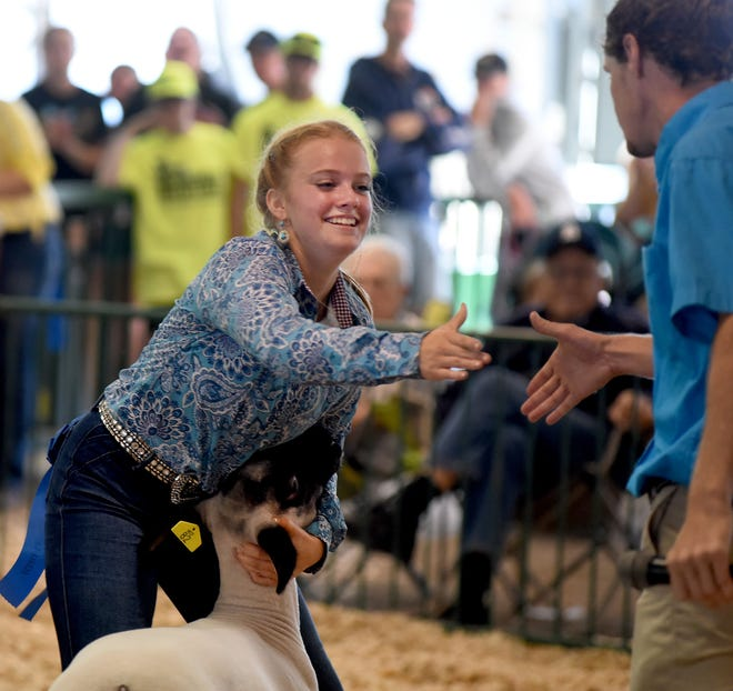 Sydney Linn, 14, of Carleton was all smiles as she is congratulated by the 4-H sheep judge Logan Bracy after winning the 4-H grand champion sheep with her wether entry Monday morning at the Monroe County Fair.