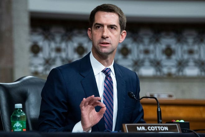 Sen. Tom Cotton, R-AR attends a Senate Judiciary Committee hearing on pending judicial nominations on Capitol Hill in Washington, DC on April 28, 2021.
