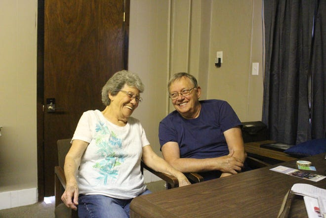 Richard and Wanita Meyer of Pratt enjoy a light moment, part of their normal retirement days. But Richard Meyer also has important work to do in sharing the message of salvation and the nearing of end times, as placed on his heart by God.