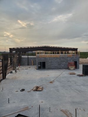 Visible walls are going up at the Pratt County Public Safety Building east of Pratt.