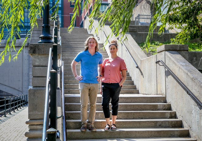 """Tyler Dobrowsky and Taibi Magar are the creators of """"A Pageant for Providence,"""" which will feature free self-guided audio walking tours of five neighborhoods, capped by a performance in Kennedy Plaza. It runs Aug. 13-15."""