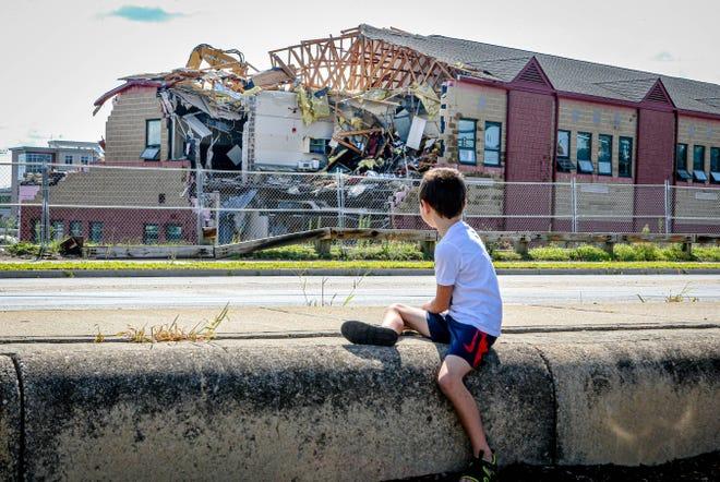 Demolition of East Providence High School began Monday.