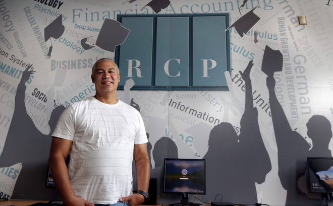 James Monteiro at the Reentry Campus Program office in Providence. The agency, founded in 2017, now has 143 active students — 120 of whom are incarcerated and 23 who have been released.