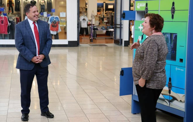 Missouri Secretary of State Jay Ashcroft visited the Missouri River Regional Library's remote locker system Monday at the Capital Mall in Jefferson City.