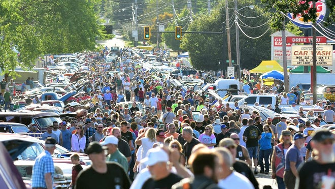 A large crowd gathers for the 2019 Celebrate Portage Cruise In. Event organizers are expecting this year's crowd to be larger, because the event was not held last year and residents are anxious to gather.