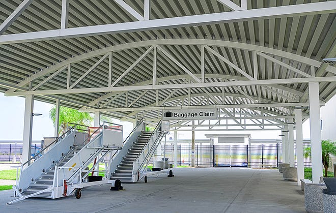 This is the Northeast Florida Regional Airport's outdoor baggage claim area on Monday, Aug. 2, 2021. The airport hopes to resume airline passenger service possibly by the end of the year or in early 2022, thanks to a recently awarded $700,000 grant from the Federal Aviation Administration.