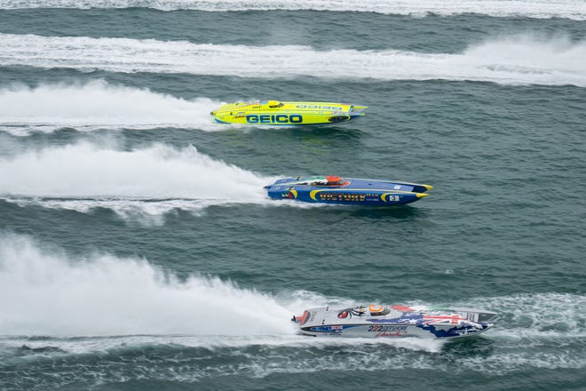 High-powered watercraft like these, seen at another race, will race this weekend in the Great Lakes Grand Prix in Lake Michigan in Michigan City.