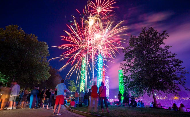 """In this 2017 photo, fireworks explode over the St. Joseph River during the """"Best Fireworks Ever"""" display on June 2, as part of that year's Best Week Ever celebration."""
