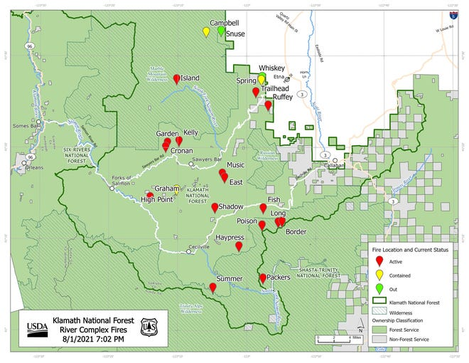 A map of known fires in the River Complex in Siskiyou County. Locations are with the best information available at this time, the KNF reported when sharing this map.