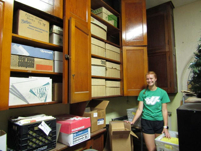 Summer employee Rachel Cook has been assigned the task of scanning medical and personal records from thousands of student files into a new off-site electronic repository. The files have been kept over the years in a second-story storeroom in the Blish Building.