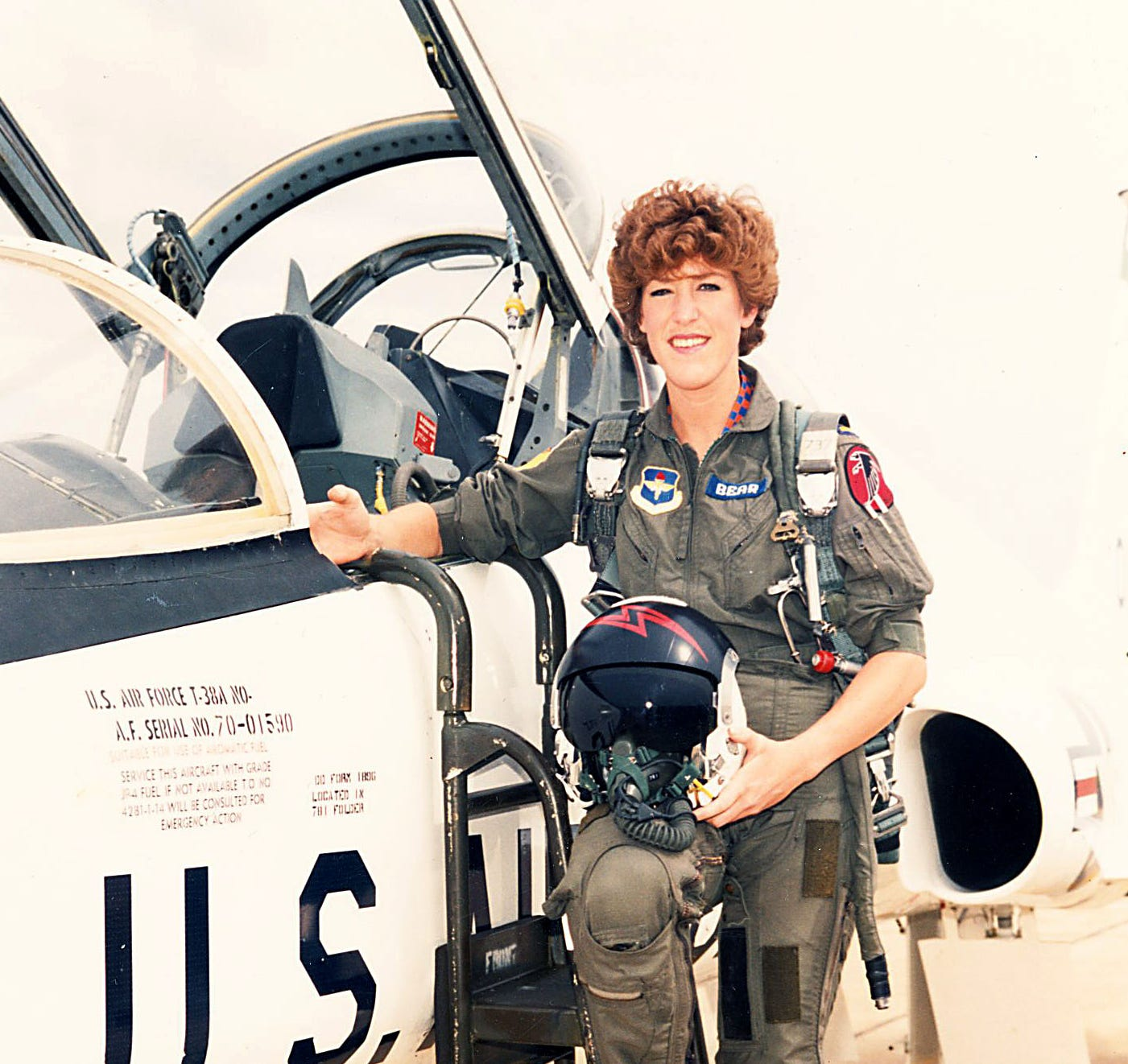 Patty Bear during pilot training.  Whena representative of the Air Force Academy spoke at her school, she realized she'd found her ticket to freedom.