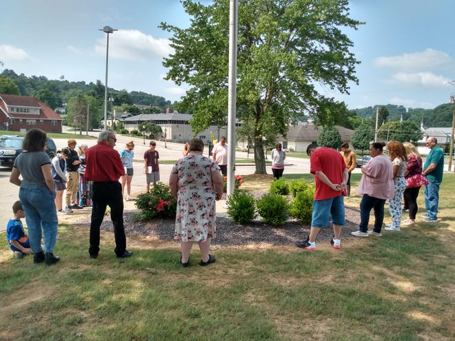 Following service Sunday, Aug. 1, Pastor Jason Lindsey led a prayer meeting at Springs Valley Community Schools with Love Never Fails United Christian Church to bless the upcoming 2021-2022 school year.