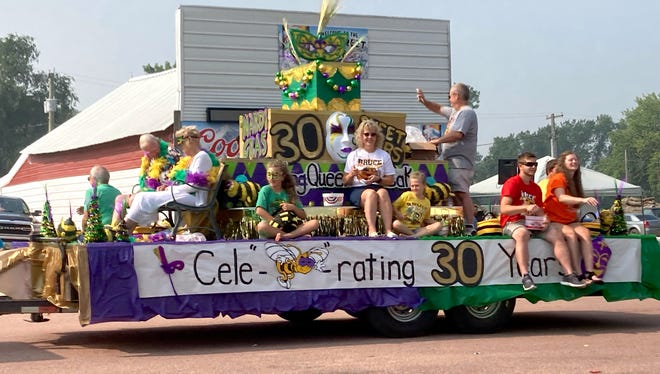 """A Mardi Gras-themed float celebrating the 30th annual Honey Days festival last weekend in Bruce. The town dubs itself """"A Honey of a Place to Bee."""""""