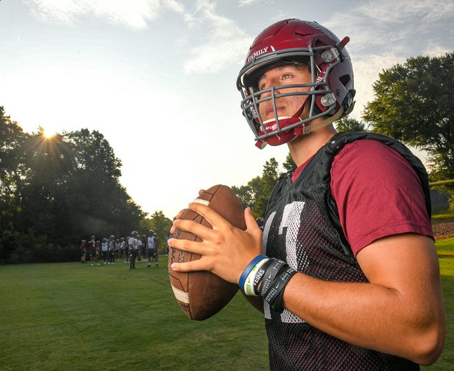 Westside High senior quarterback Peter Zamora during preseason practice in Anderson, S.C. Monday, August 2, 2021.