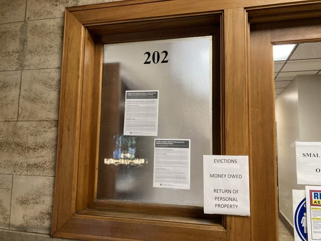 Inside Buncombe County's courthouse, evictions are filed with the clerk of small claims in office 202. Since the start of the month, landlords have filed 58 evictions. Half of those came during the three day lapse in the CDC's eviction moratorium.
