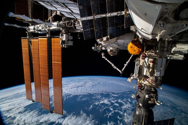 The International Space Station over the Atlantic Ocean on July 8, 2021.