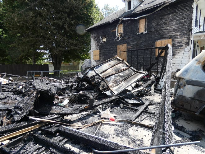 A single-family home, a duplex and a garage were destroyed during a Saturday evening fire in the 800 block of Wingert Street.