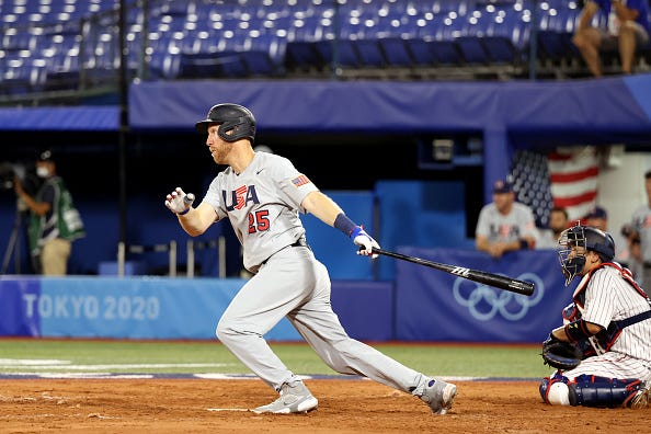 Todd Frazier #25 of Team United States hits a double in the fourth inning against Team Japan during the knockout stage of men's baseball on day ten of the Tokyo 2020 Olympic Games at Yokohama Baseball Stadium on August 02, 2021 in Yokohama, Kanagawa, Japan.