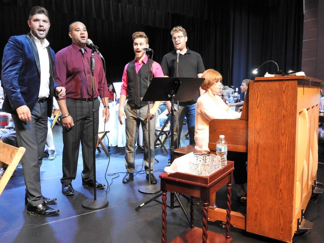 """The Coshoctones of Donovan Rice, Luke Widder, Andy Hall and Heath Chaney with pianist Jane Crow perform at a season announcement party for the Coshocton Footlight Players at the Triple Locks Theater. The quartet will open the season in """"Forever Plaid,"""" which they performed in 2017."""