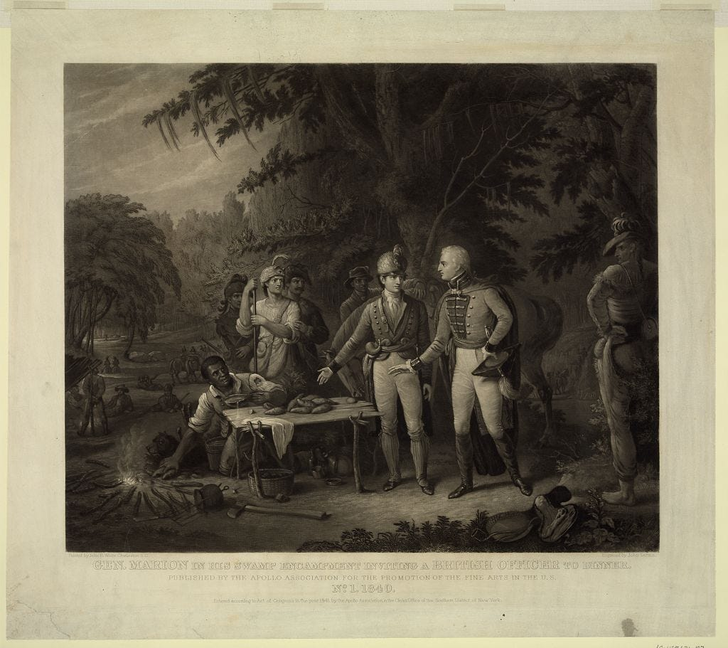 Gen. Marion in his swamp encampment inviting a British officer to dinner. Painted by John B. White; engraved by John Sartain. Library of Congress Prints and Photographs Division.