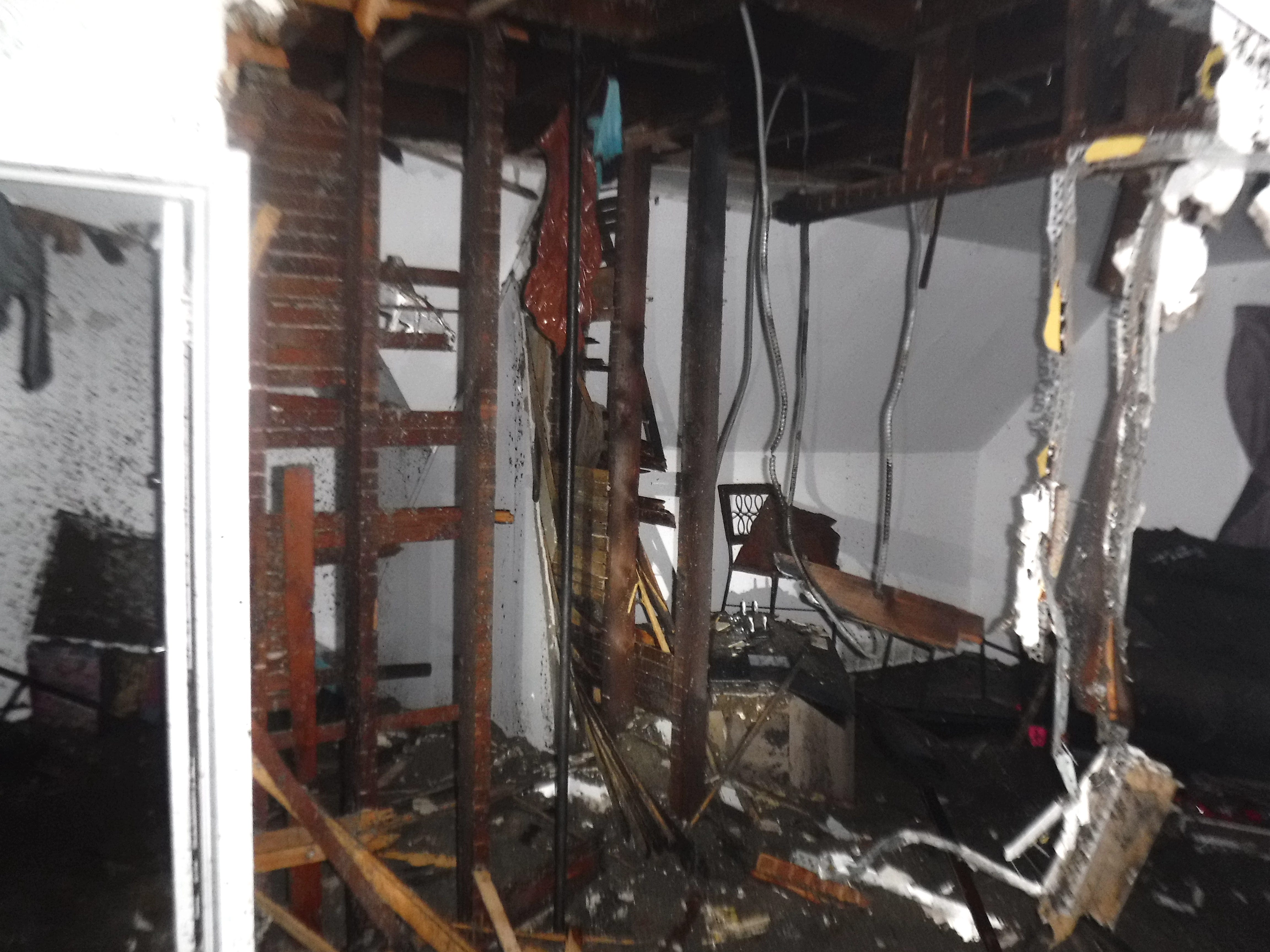 Damage inside a home with an electrical fire.