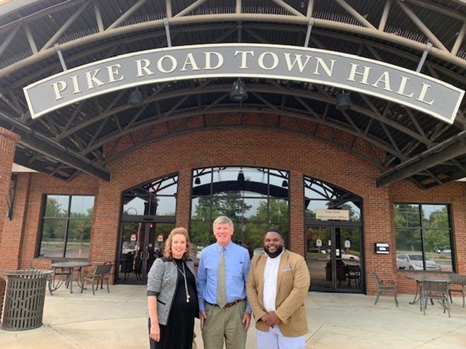 Courtney Bass, assistant principal at Pike Road Intermediate School, and Dr. Bonnie Sullivan, new principal at Pike Road Intermediate School, enjoyed meeting Pike Road community leaders and business owners. Mayor Gordon Stone, middle, provided them with a history of how Pike Road officially became a town.