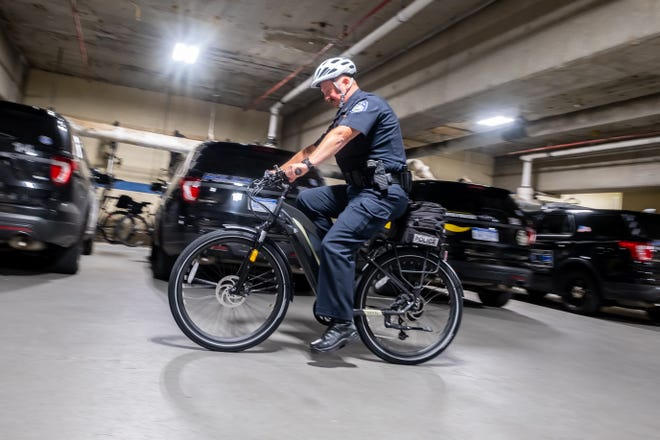 Port Huron Police Chief Joseph Platzer rides one of the department's new electronic bikes Monday, Aug. 2, 2021, at Port Huron Police Department. The city purchased four of the bikes from Alpine Cycles.