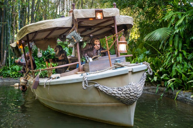 A view of an expedition's wrecked boat that was taken over by chimpanzees during the Jungle Cruise ride at Adventureland, Disneyland in Anaheim, California, on Friday, July 9, 2021. The official reopening of Jungle Cruise will be on July 16, 2021, with new adventures, an expanded storyline and more humor as skippers take guests on a tongue-in-cheek journey along some of the most remote rivers around the world at Disneyland. (Allen J. Schaben/Los Angeles Times/TNS)