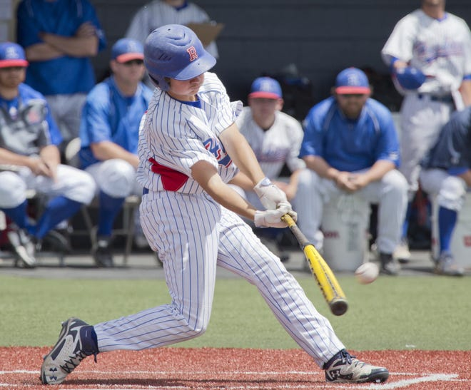 Reno's Garrett Gouldsmith swings against Damonte Ranch in the championship game of the NIAA Division I North Region baseball tournament on May 17, 2014 at Peccole Park.