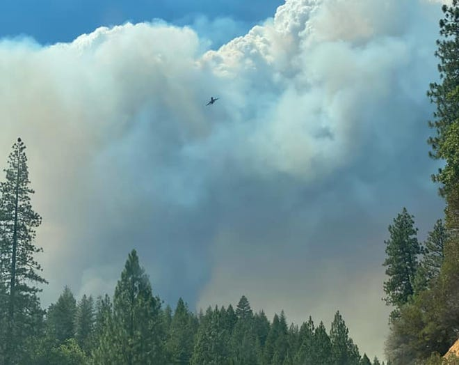 The McFarland Fire burns by the border of Shasta and Trinity Counties on Monday, Aug. 2, 2021.