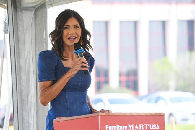 Governor Kristi Noem speaks at a groundbreaking for a new Furniture Mart USA facility on Monday, August 2, 2021.
