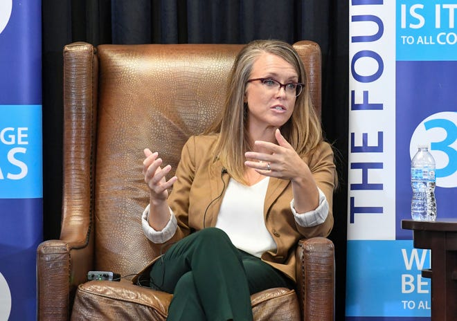 Department of Education Secretary Tiffany Sanderson speaks at a Rotary meeting about the future of K-12 education on Monday, August 2, 2021.