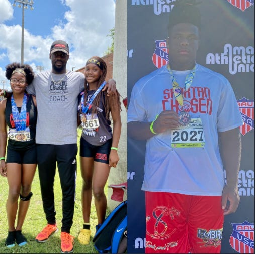 Naudia Williams (far left), Nya Blocker (right first photo), and Ladarion Dudley (far right) are competing at AAU Junior Olympics in Houston, Texas from July 28 to Aug. 7. Head coach Kelvin Davis (center first photo) is cheering them on from Florida.