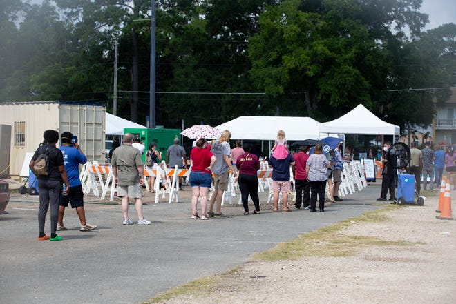 As COVID-19 cases are on the rise again in Leon County, over 100 people wait in line to be tested at Bragg Memorial Stadium on the Florida A&M University campus in Tallahassee Monday, August 2, 2021.